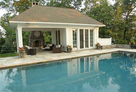 pool pavilion plans open pavillion pool house w exterior fireplace traditional pool other metro by kemper