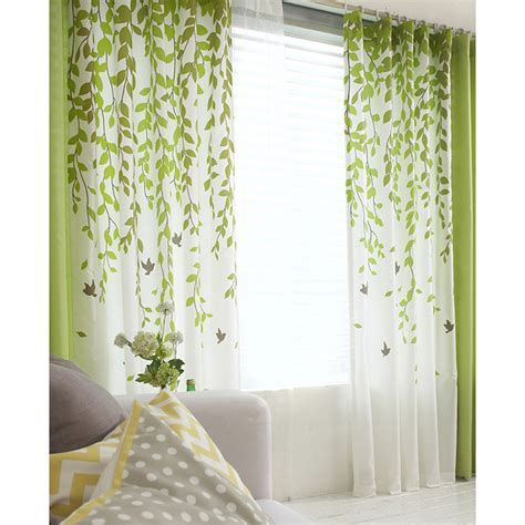 Lime Green Kitchen Curtains Decor Lime Green And White Leaf Print Poly Cotton Blend Country Living Room Curtains