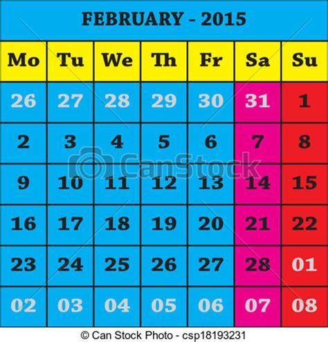 Calendario Can 2015 Vectors Of 2015 February Calendar Iso 8601 Csp18193231