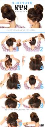 2 minute bun hairstyle easy second day hair