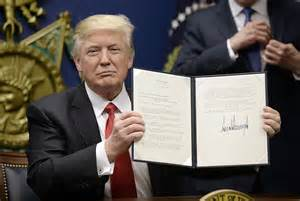 Image result for trump signs executive order