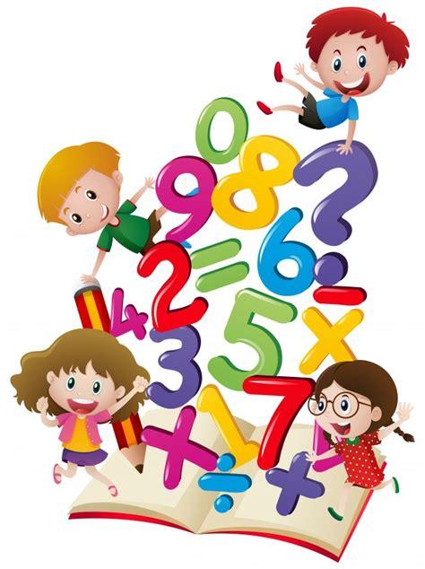 Imagenes De Niños Jugando Con Numeros | muchos ni 241 os con n 250 meros en el libro descargar vectores