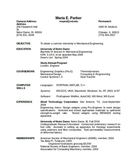 Mechanical Engineering Resume by 9 Mechanical Engineering Resume Templates Pdf Doc