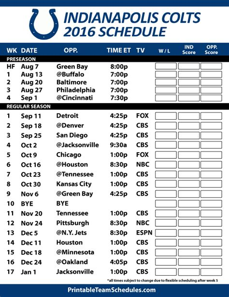 2016 17 indianapolis colts schedule my colts team