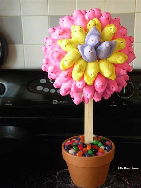 marshmallow topiary peep topiary plus other easter table top decorating ideas