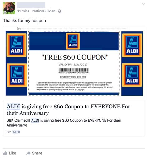 legit printable grocery coupons fake facebook aldi coupons money credit and you 169