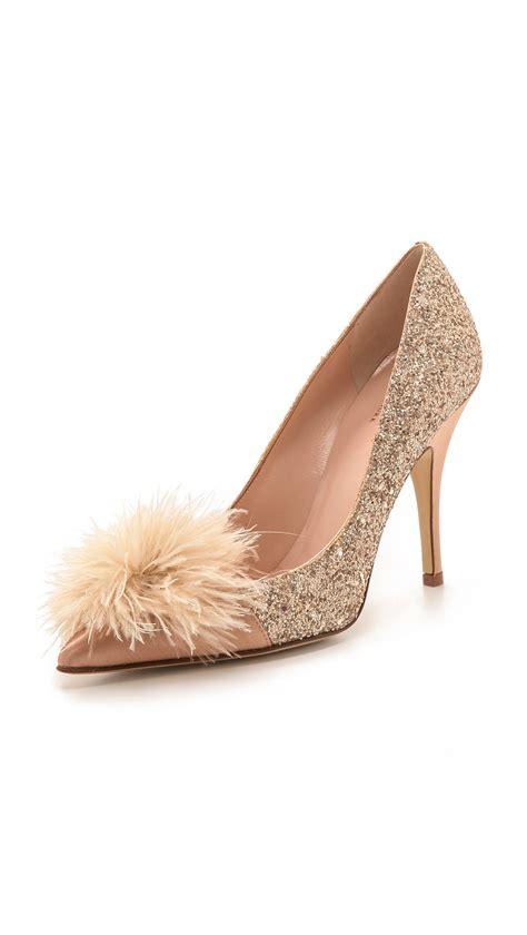 Katee Spadee 4in kate spade new york lilo marabou glitter pumps gold