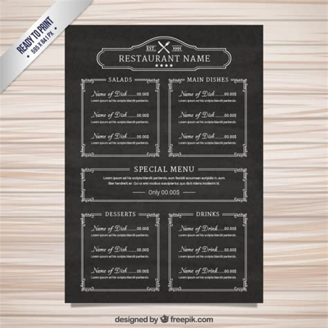 menu sle templates menu template in blackboard style vector free
