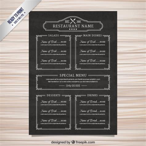chalkboard menu template free menu template in blackboard style vector free