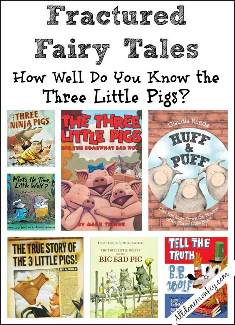 three stories the three little pigs fractured fairy tales all done monkey