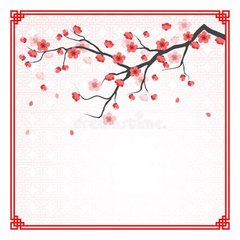 cherry blossom tree card template cherry blossom template stock vector illustration of