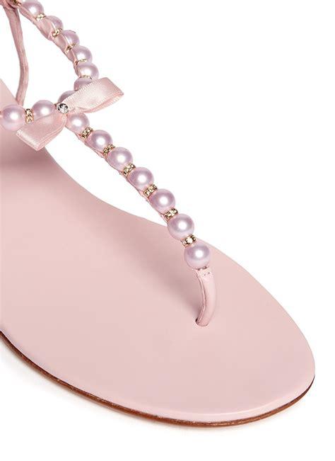 pearl flat sandals rene caovilla pearl t flat sandals in pink lyst
