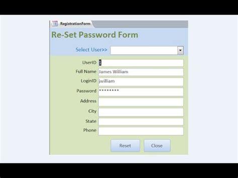 reset vba password 5 15 1 1 create reset password form youtube