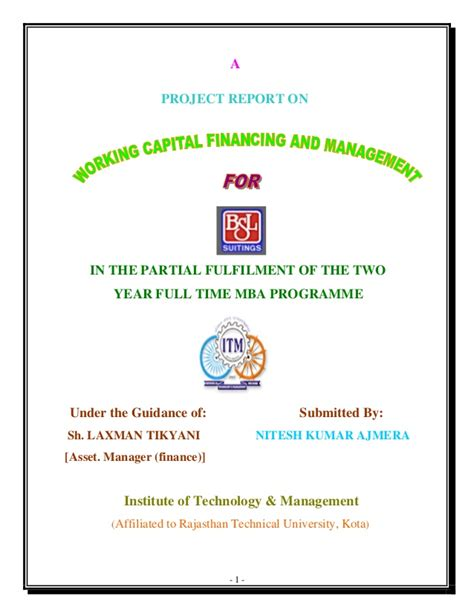 Bsl Mba by Summer Internship Report On Bsl Working Capital Management