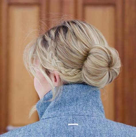 easy sock bun with braid 45 pretty ideas for casual and formal bun hairstyles