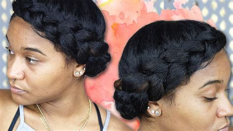 how to pen up black women hair halo braid tutorial natural hair youtube