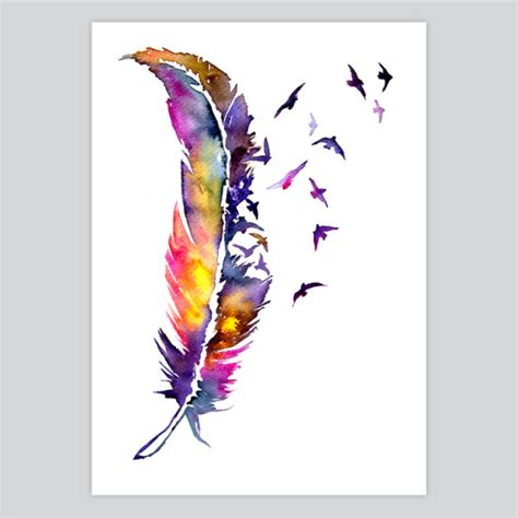 water color feather watercolor print feather by artollo