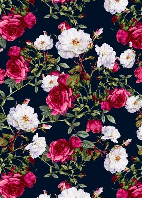 wallpaper flower vintage black vintage roses on darkblue art print romantic floral and