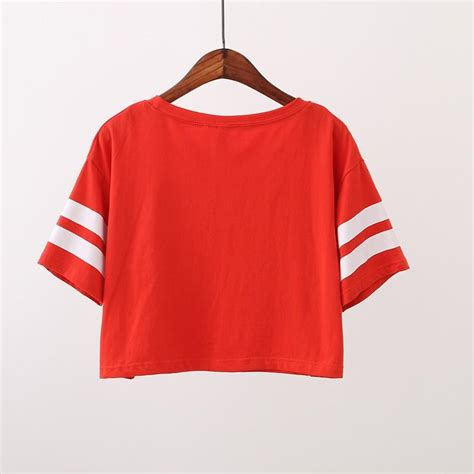 high quality crop tops baseball t shirt no 36 letter printed striped tops t