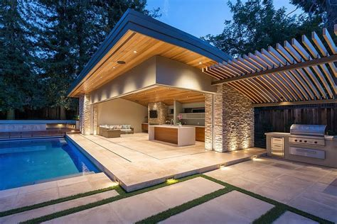 Mid century modern home pool modern with cultured stone