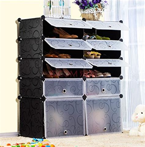 Simple Diy Shoe Rack Storage The Door For Small And Narrow Closet Spaces Ideas Unicoo Multi Use Diy Plastic 10 Cube Shoe Rack Organizer Bookcase Shoes Cabinet Easy Home