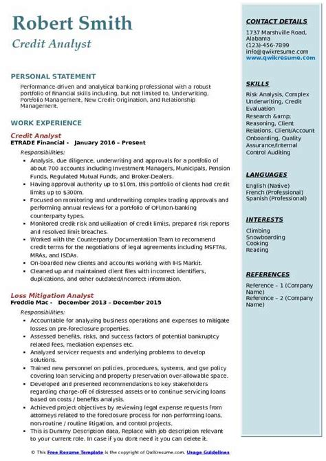 credit analyst resume sle credit risk analyst resume sles qwikresume