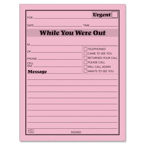 while you were out adams 9711d while you were out message pad 50 sheet s