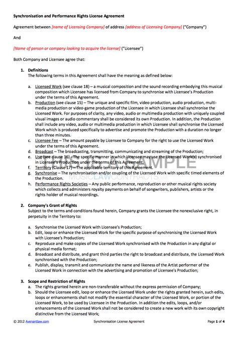 Synchronisation License Contract Template Av Service Contract Template