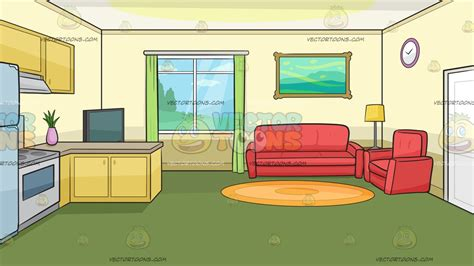 livingroom cartoon the kitchen and living room of a small house background