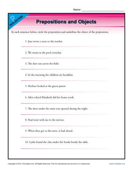 Object Of The Preposition Worksheet