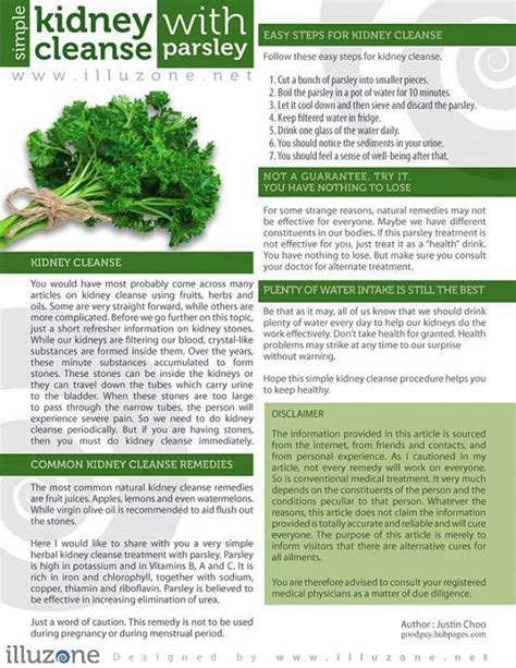 Kidney Detox Side Effects by Simple Kidney Cleanse With Parsley Detox