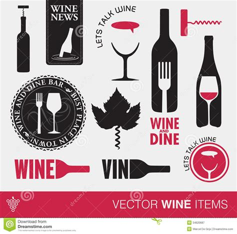 Vector Wine Items Royalty Free Stock Photography   Image