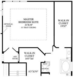 x master bedroom floor plan with bath and walk in closet