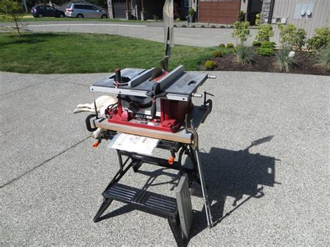 black and decker 10 portable table saw with stand skill portable 10 quot table saw with workmate stand