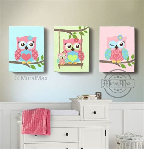 room decor owl canvas baby nursery owl canvas