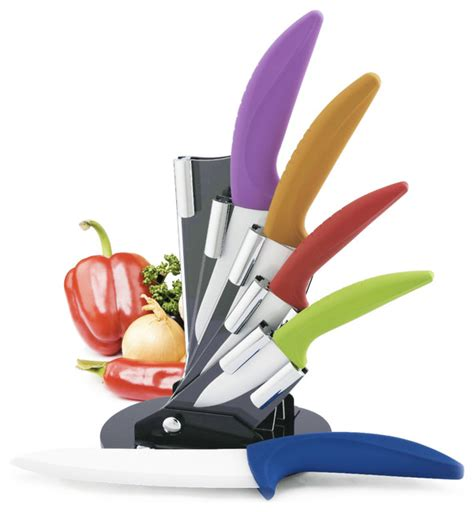 kitchen knife block colored knives with blades sets to premium multicolor 5 piece ceramic knife set with block