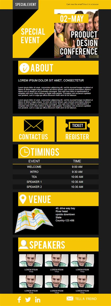 event email template for stlia com on behance