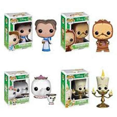 Funko Pop Disney And The Beast 2017 Lumiere funko pop and the beast set of 4 cogsworth