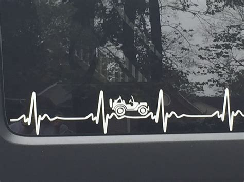 Jeep Wrangler Heartbeat Ekg Pick Color Sticker Decal Heart