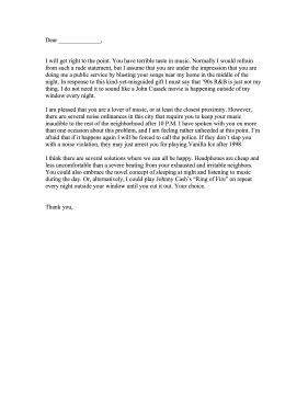 Complaint Letter Neighbours Sle Loud Complaint Letter