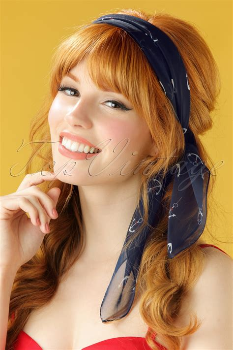 76 best vintage hair pretties images on hair 50s sail away anchor hair scarf in navy