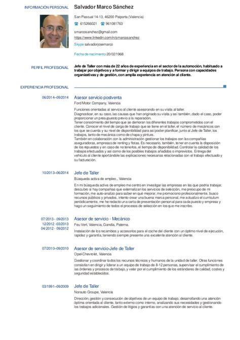 Modelo Curriculum Vitae Tecnico Mecanica Automotriz Cv Salvador Marco