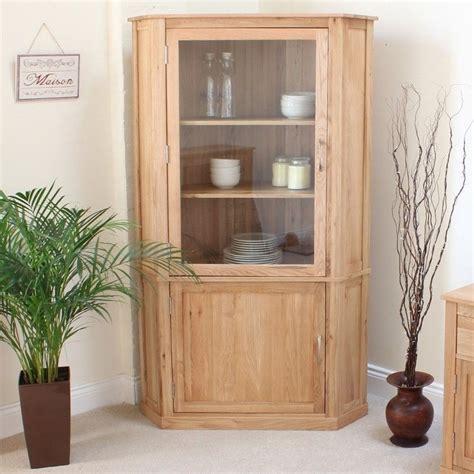 mobel oak large corner display cabinet core living