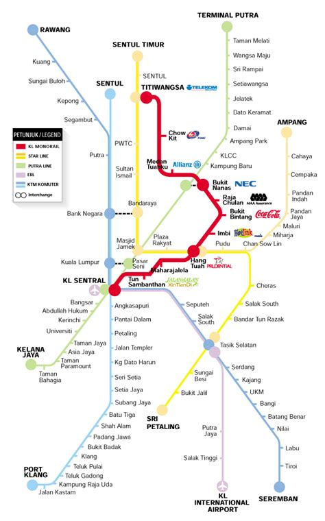 Lrt Monorail Ktm Map Ieee Icsipa Travel Information