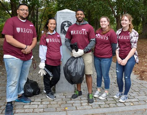 regis college current students regis college students help clean waltham path news