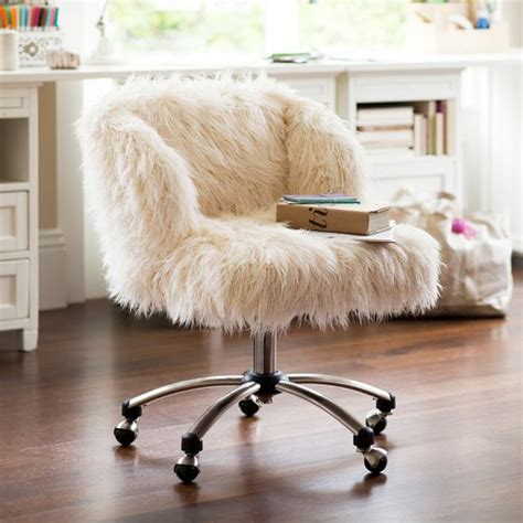 white faux fur desk chair whimsical faux fur office chair makeover