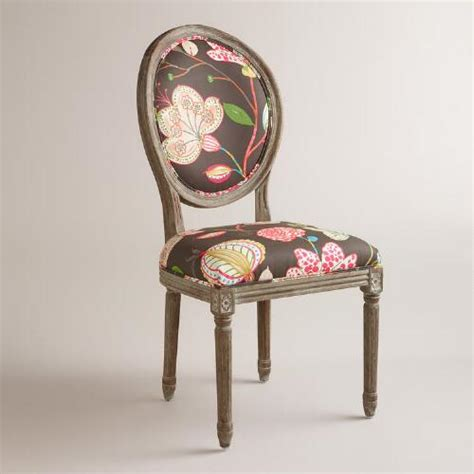 brown floral back dining chairs set of 2