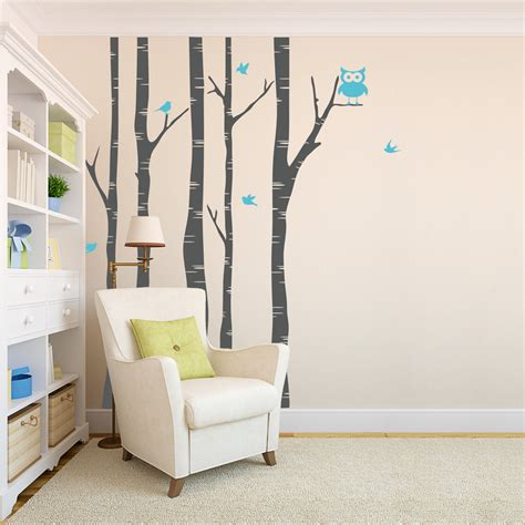 wall decals trees and birds birch tree wall decal with birds tree and owl wall decal