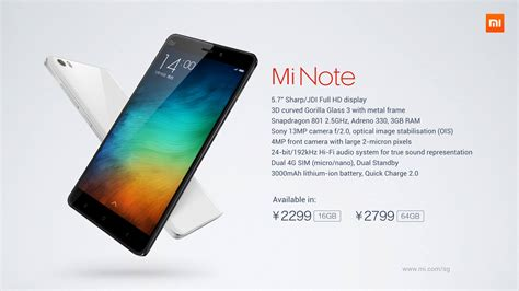 xiaomi unveils mi note and mi note pro 5 7 inch high end