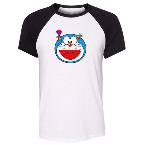 Sweater Doraemon idzn unisex summer t shirt japan doraemon nobita nobi pattern design raglan